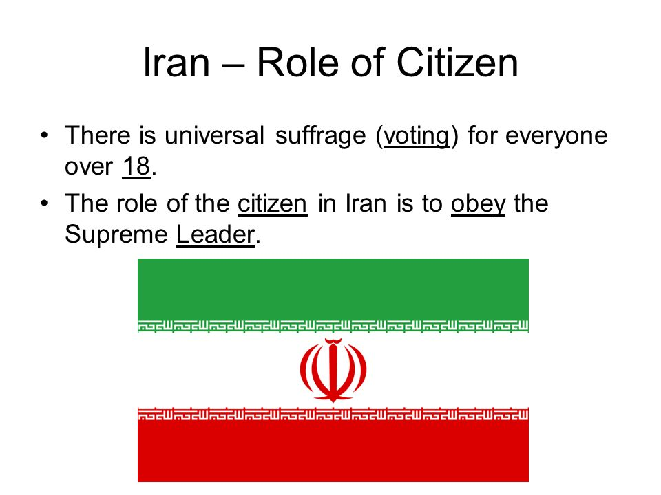 Iran – Role of Citizen There is universal suffrage (voting) for everyone over 18.