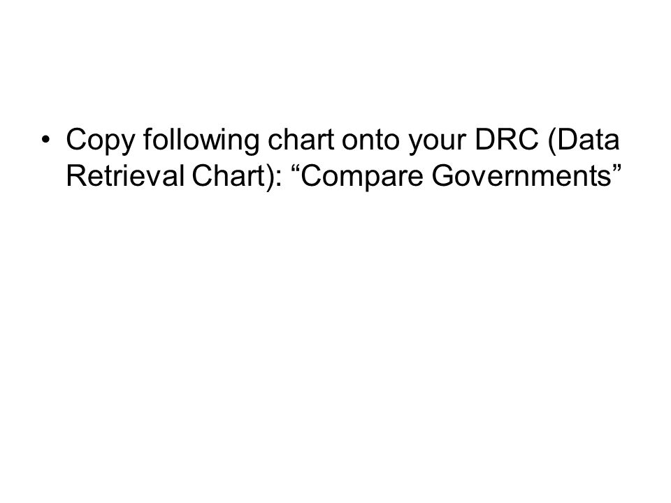 Copy following chart onto your DRC (Data Retrieval Chart): Compare Governments