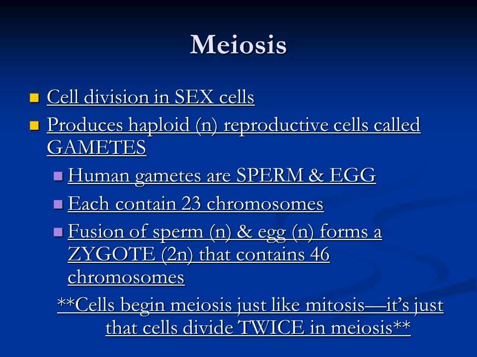 Meiosis Cell division in SEX cells