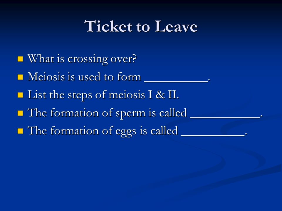 Ticket to Leave What is crossing over
