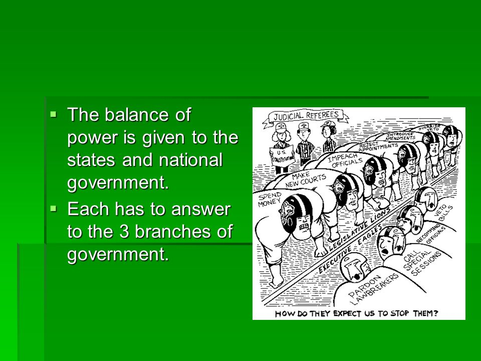 The balance of power is given to the states and national government.