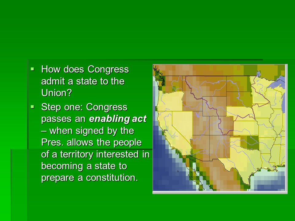 How does Congress admit a state to the Union