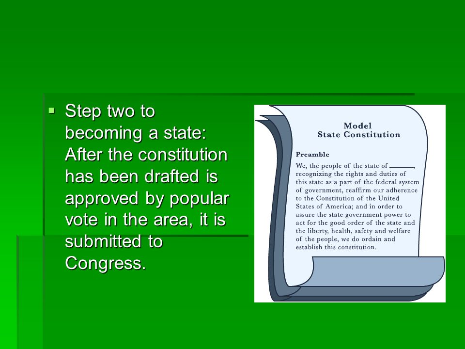 Step two to becoming a state: After the constitution has been drafted is approved by popular vote in the area, it is submitted to Congress.