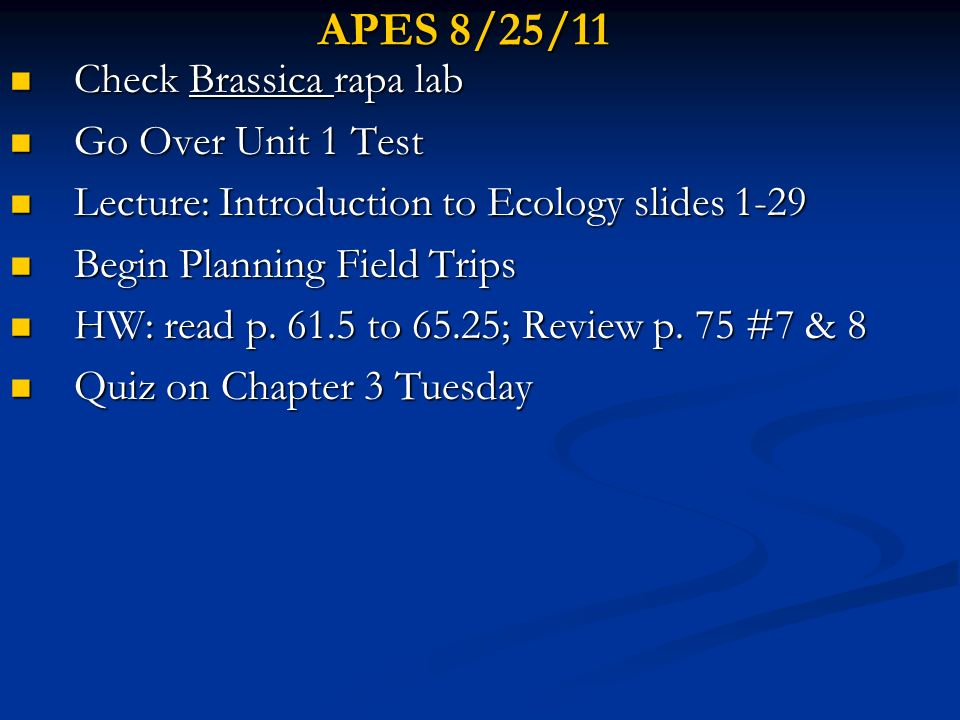 APES 8/25/11 Check Brassica rapa lab Go Over Unit 1 Test