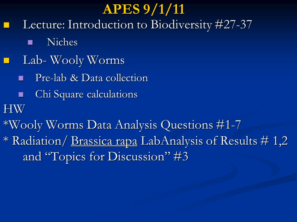APES 9/1/11 Lecture: Introduction to Biodiversity #27-37