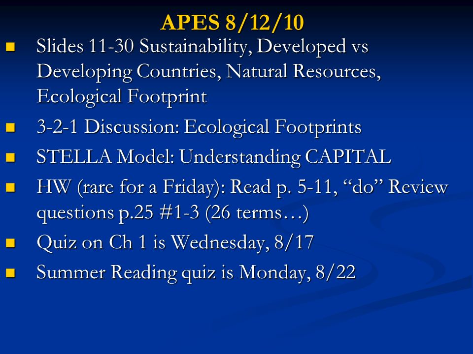 APES 8/12/10 Slides 11-30 Sustainability, Developed vs Developing Countries, Natural Resources, Ecological Footprint.