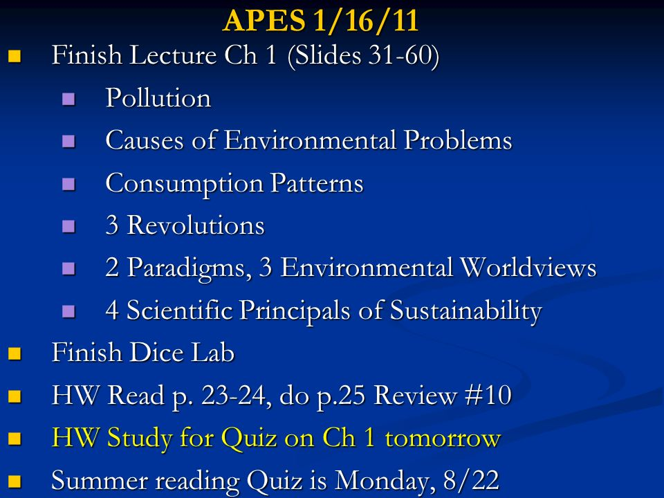 APES 1/16/11 Finish Lecture Ch 1 (Slides 31-60) Pollution