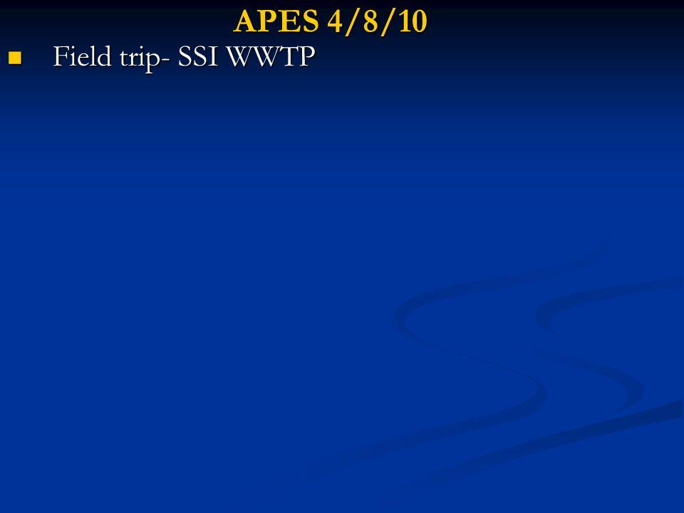 APES 4/8/10 Field trip- SSI WWTP