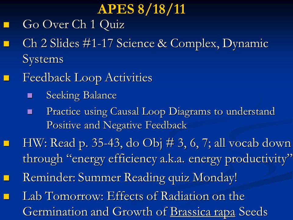 APES 8/18/11 Go Over Ch 1 Quiz. Ch 2 Slides #1-17 Science & Complex, Dynamic Systems. Feedback Loop Activities.
