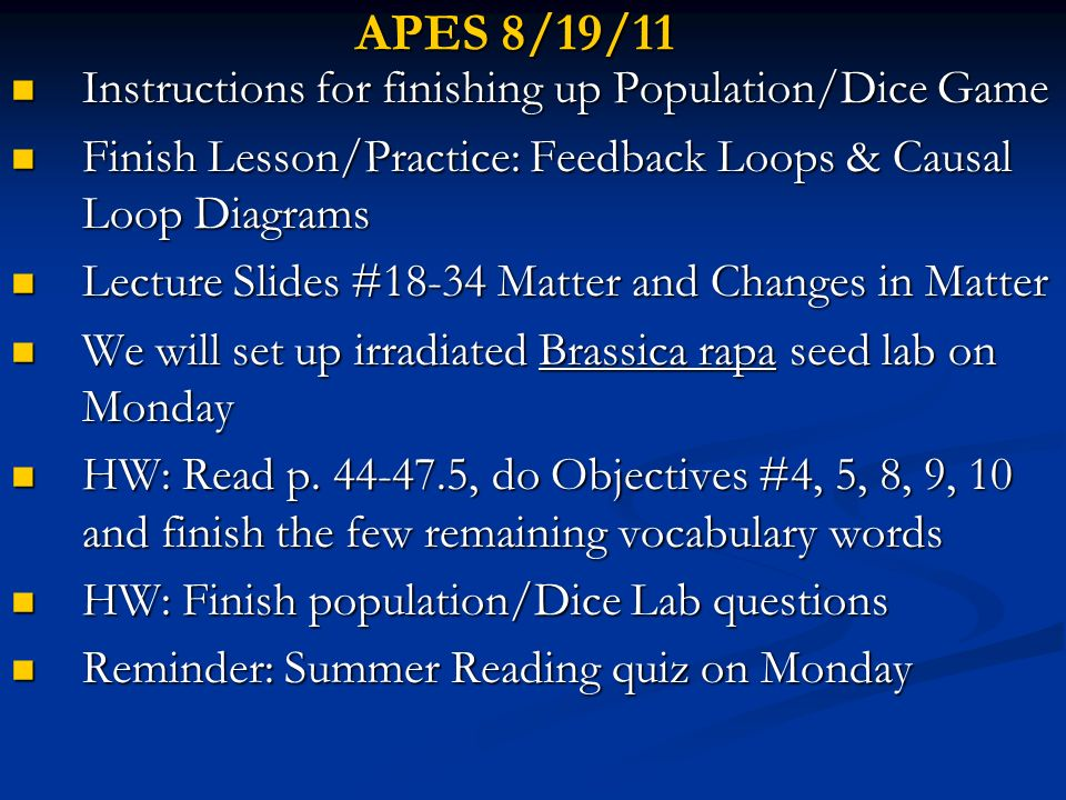 APES 8/19/11 Instructions for finishing up Population/Dice Game