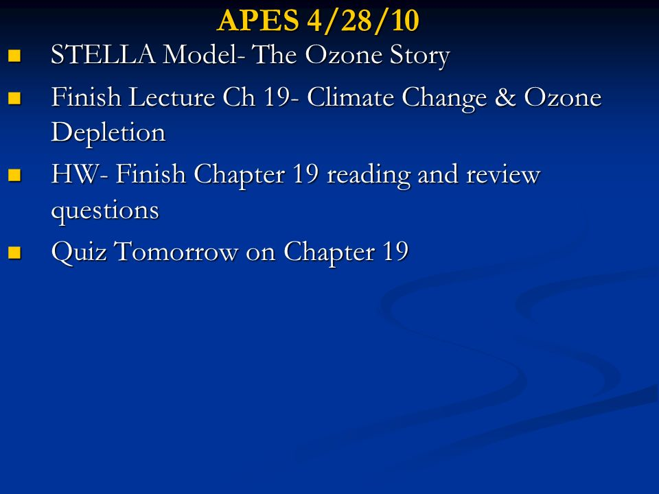 APES 4/28/10 STELLA Model- The Ozone Story