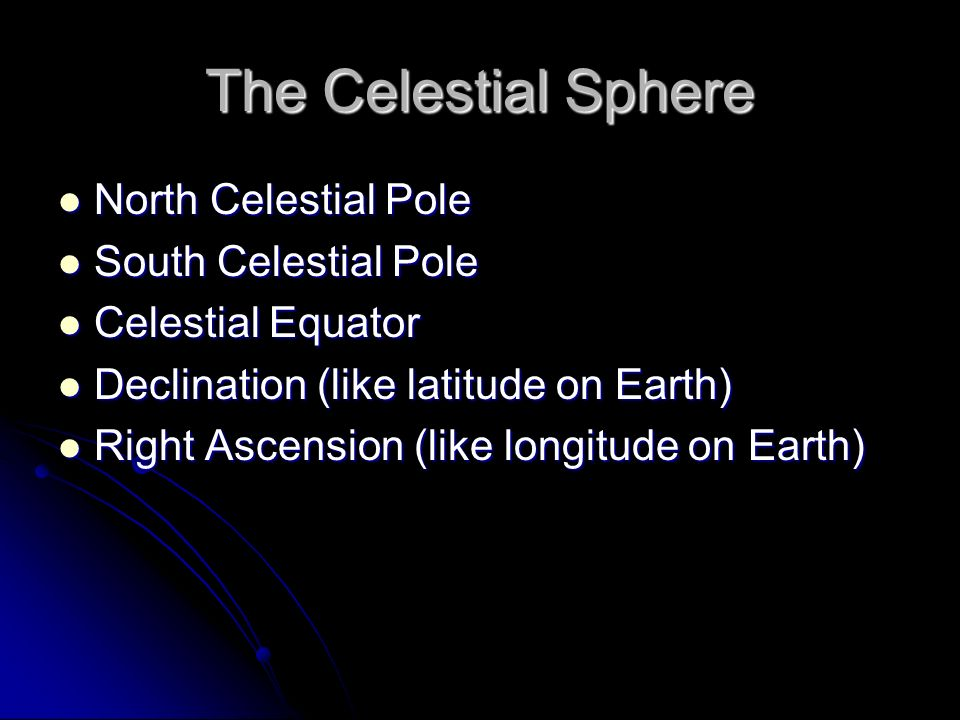 The Celestial Sphere North Celestial Pole South Celestial Pole
