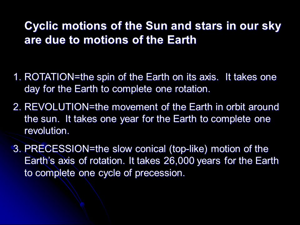 Cyclic motions of the Sun and stars in our sky are due to motions of the Earth