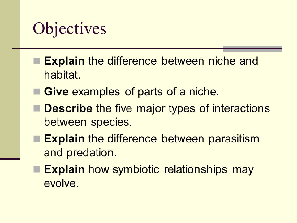 Objectives Explain the difference between niche and habitat.