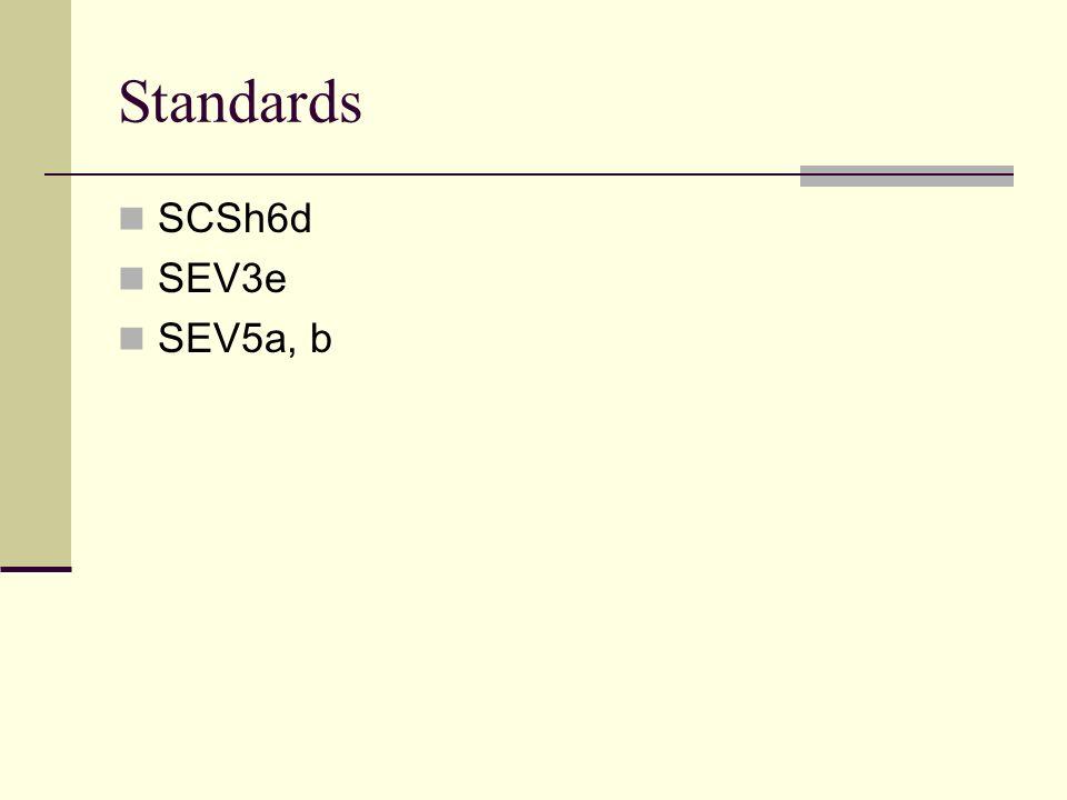 Standards SCSh6d SEV3e SEV5a, b
