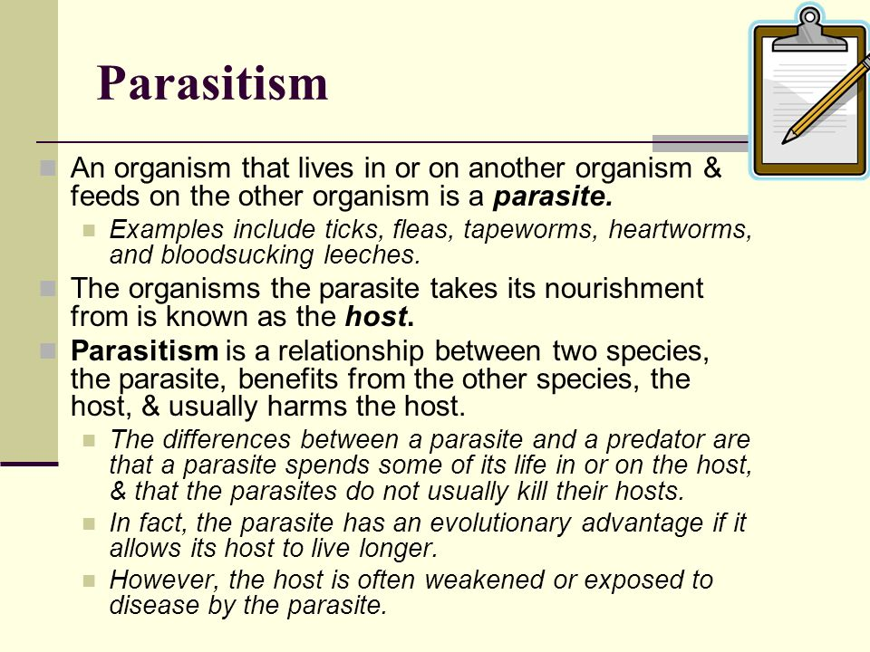 Parasitism An organism that lives in or on another organism & feeds on the other organism is a parasite.