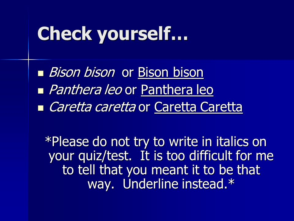 Check yourself… Bison bison or Bison bison