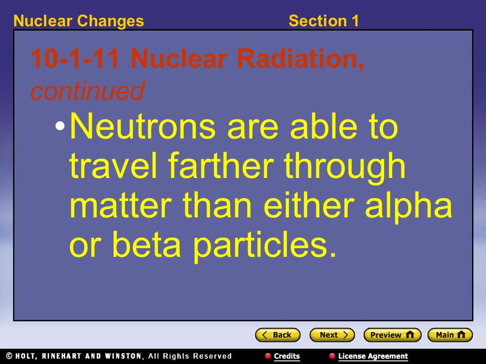 Nuclear Radiation, continued