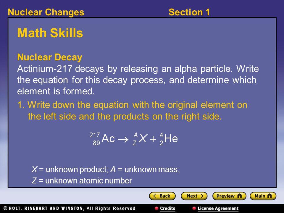Math Skills Nuclear Decay