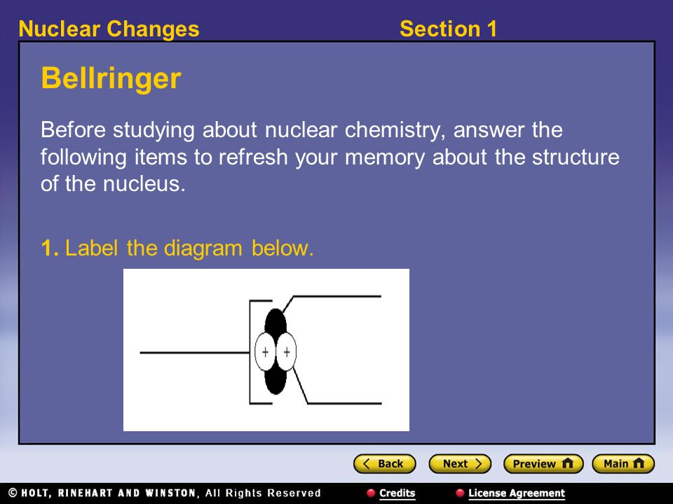 Bellringer Before studying about nuclear chemistry, answer the following items to refresh your memory about the structure of the nucleus.