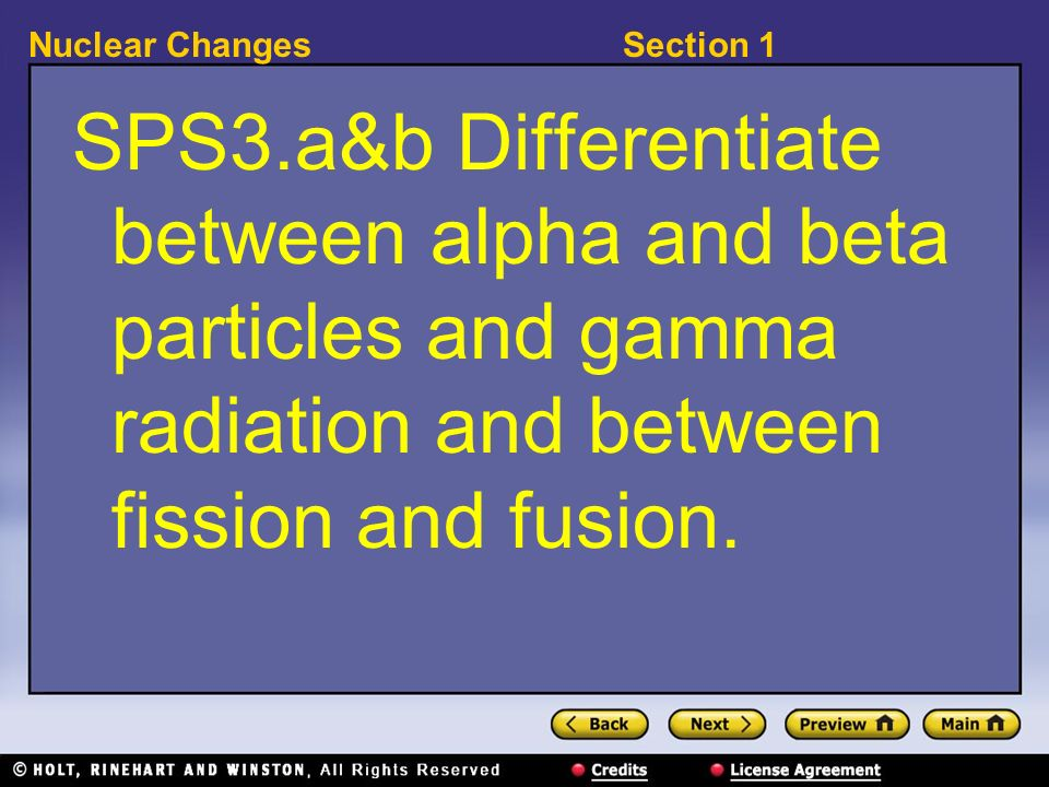 SPS3.a&b Differentiate between alpha and beta particles and gamma radiation and between fission and fusion.