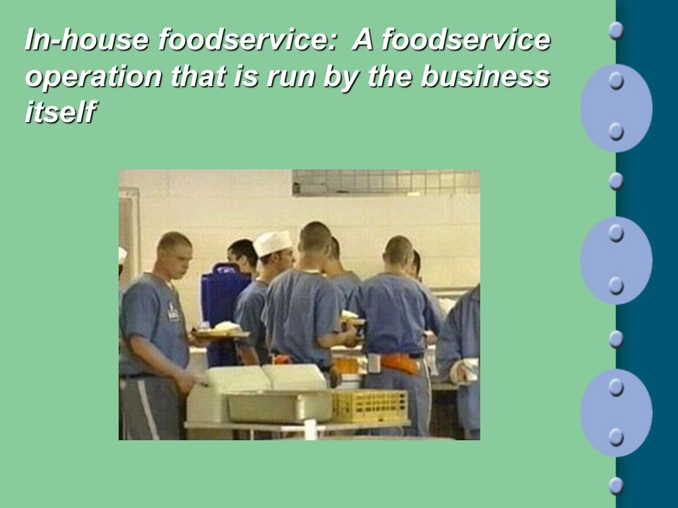 In-house foodservice: A foodservice operation that is run by the business itself