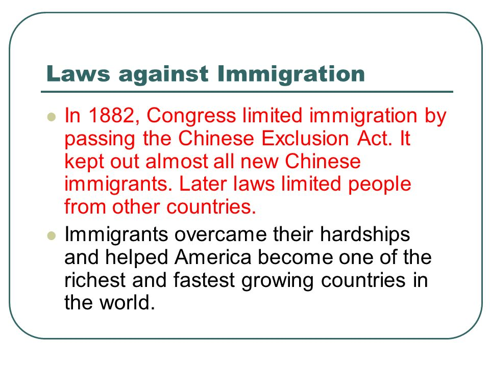 Laws against Immigration