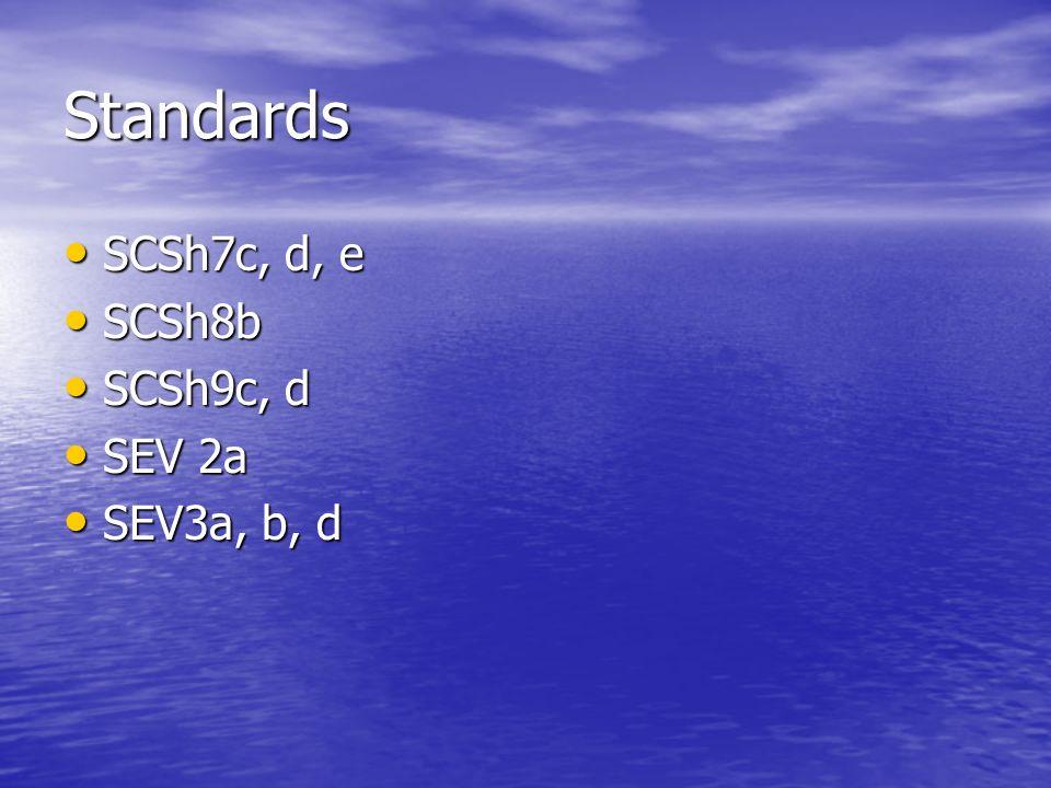 Standards SCSh7c, d, e SCSh8b SCSh9c, d SEV 2a SEV3a, b, d