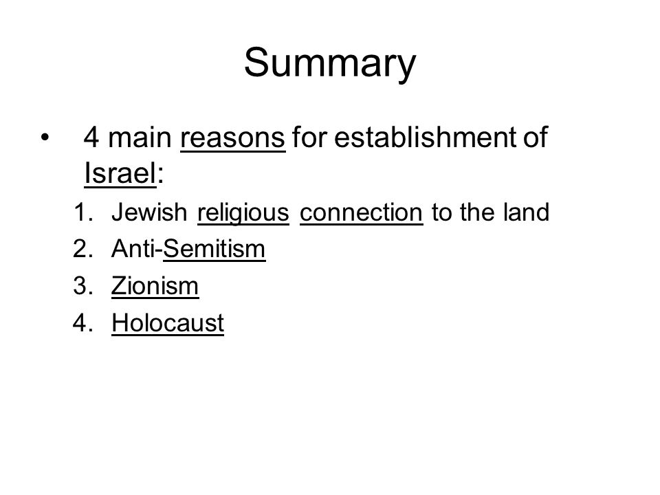 Summary 4 main reasons for establishment of Israel: