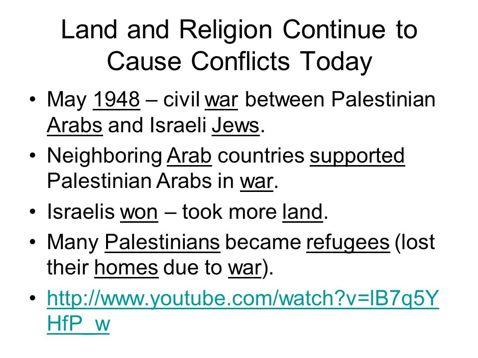 Land and Religion Continue to Cause Conflicts Today