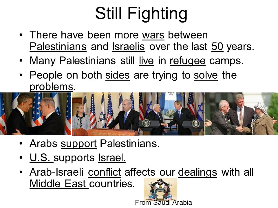 Still Fighting There have been more wars between Palestinians and Israelis over the last 50 years. Many Palestinians still live in refugee camps.