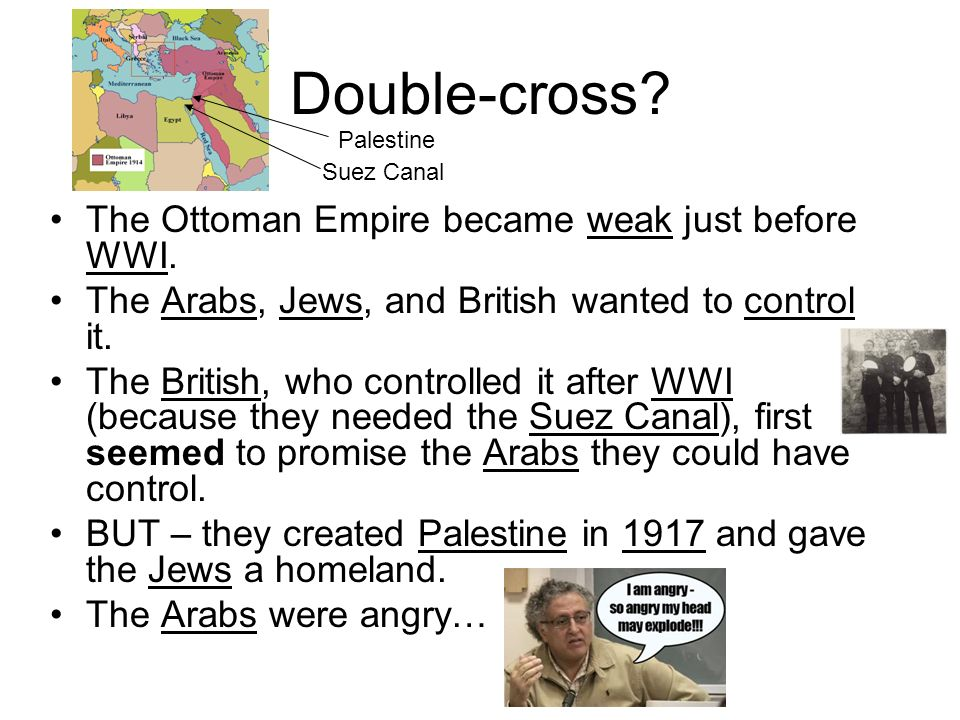 Double-cross The Ottoman Empire became weak just before WWI.