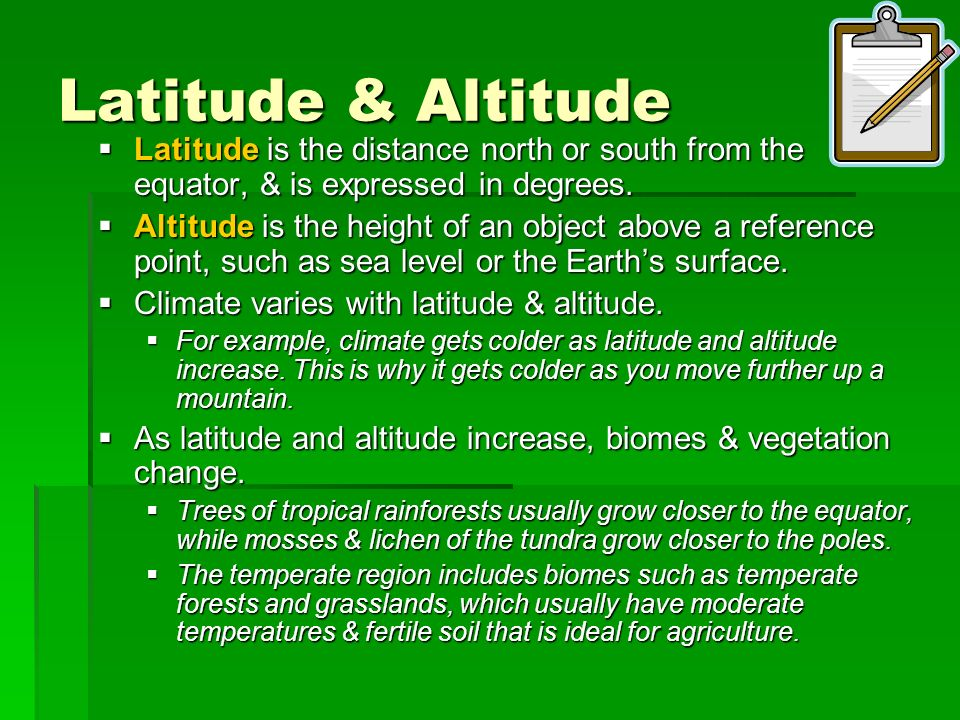 Latitude & Altitude Latitude is the distance north or south from the equator, & is expressed in degrees.