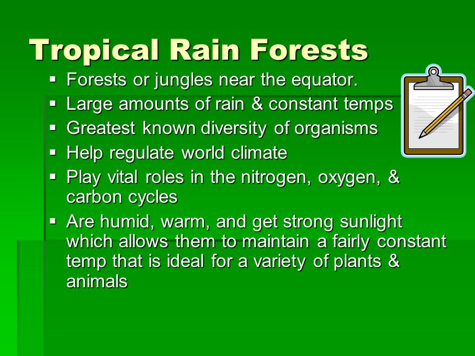 Tropical Rain Forests Forests or jungles near the equator.