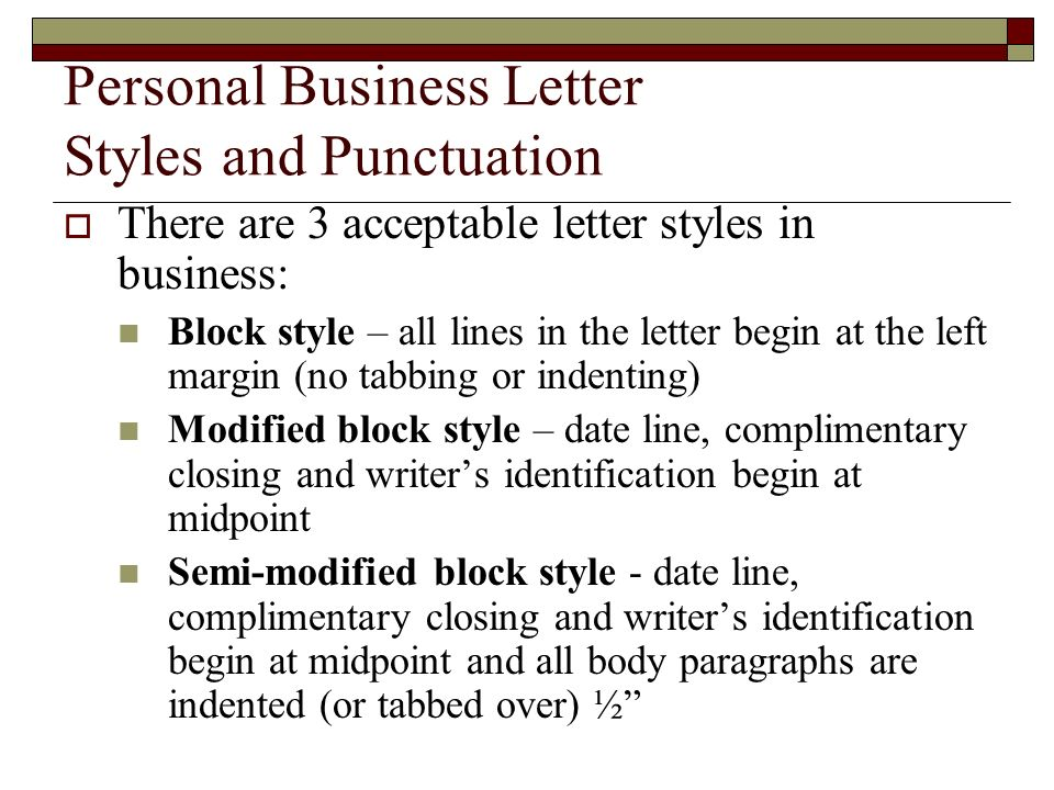 Personal Business Letter Styles and Punctuation