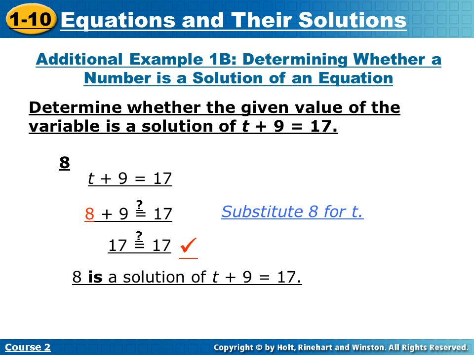  Equations and Their Solutions 1-10