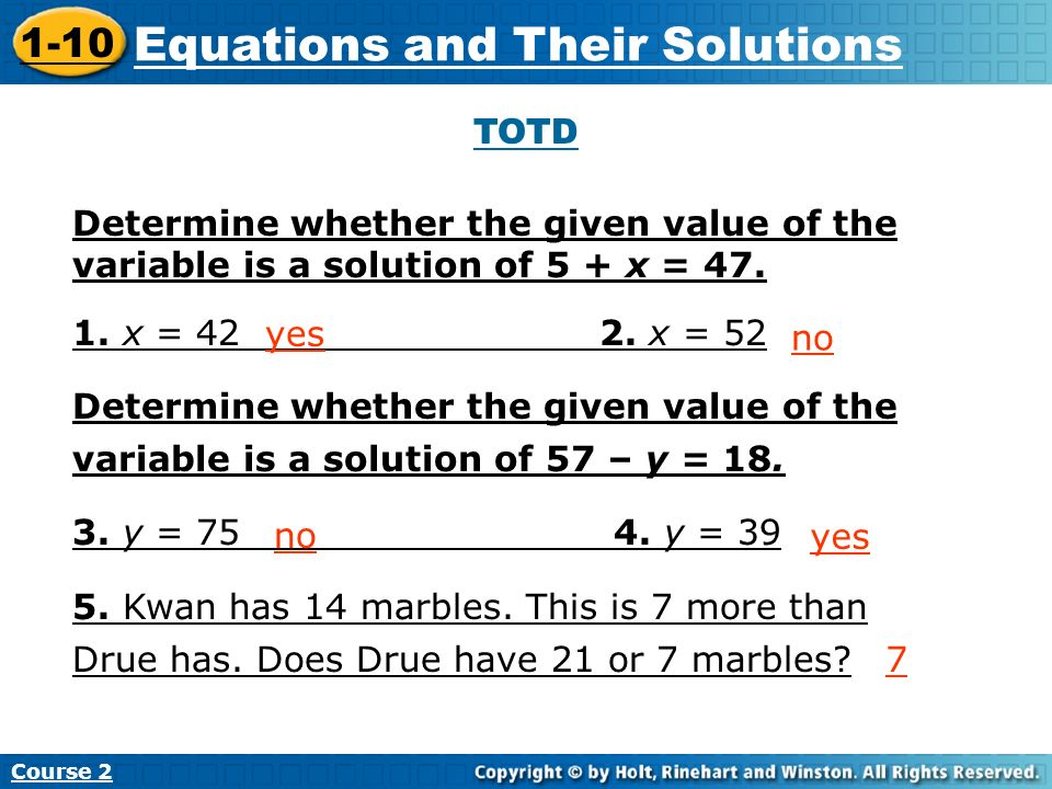 Equations and Their Solutions Insert Lesson Title Here