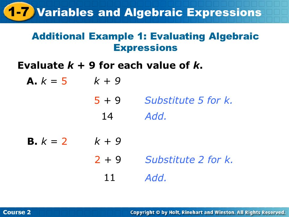 Additional Example 1: Evaluating Algebraic Expressions