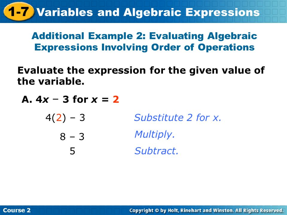 Additional Example 2: Evaluating Algebraic Expressions Involving Order of Operations