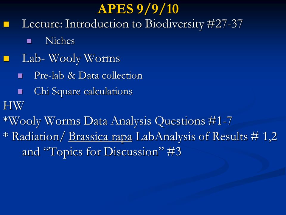 APES 9/9/10 Lecture: Introduction to Biodiversity #27-37