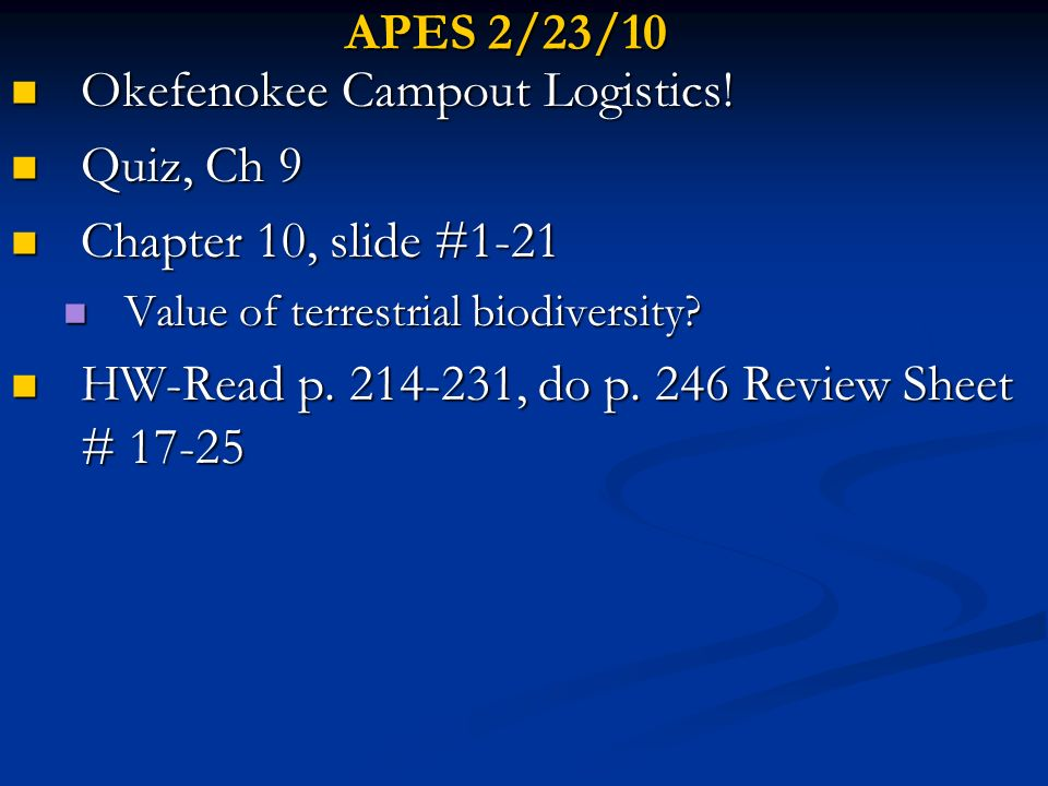 Okefenokee Campout Logistics! Quiz, Ch 9 Chapter 10, slide #1-21