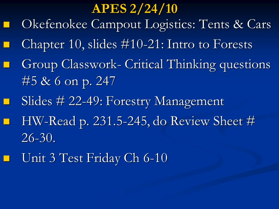 APES 2/24/10 Okefenokee Campout Logistics: Tents & Cars. Chapter 10, slides #10-21: Intro to Forests.