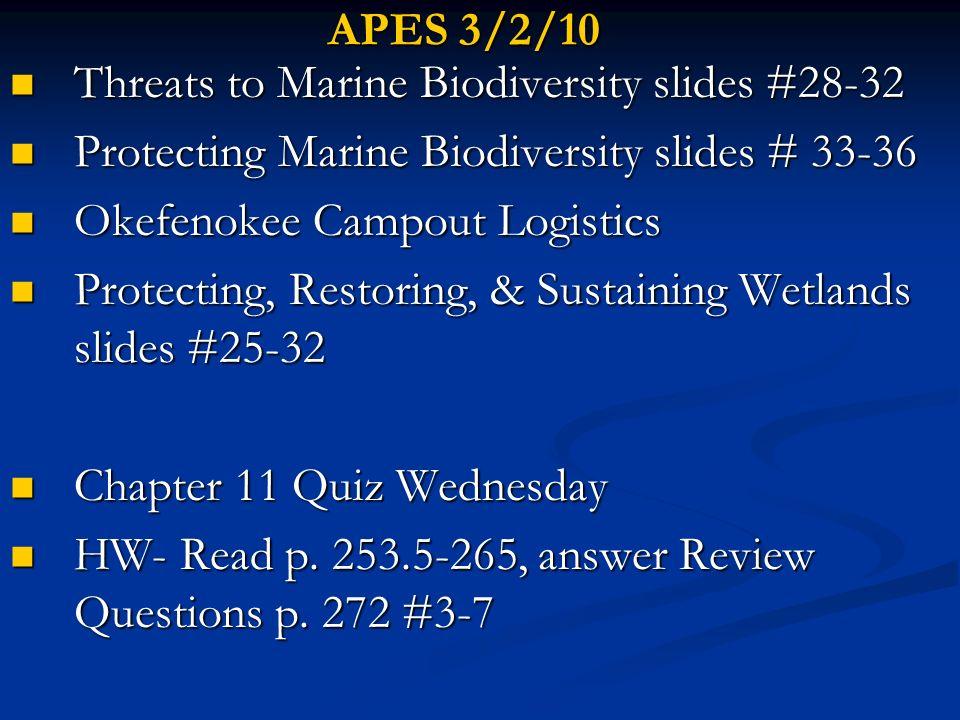 APES 3/2/10 Threats to Marine Biodiversity slides #28-32. Protecting Marine Biodiversity slides # 33-36.