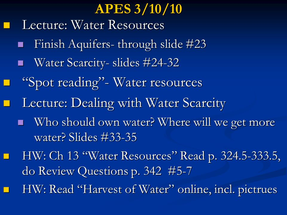 Lecture: Water Resources