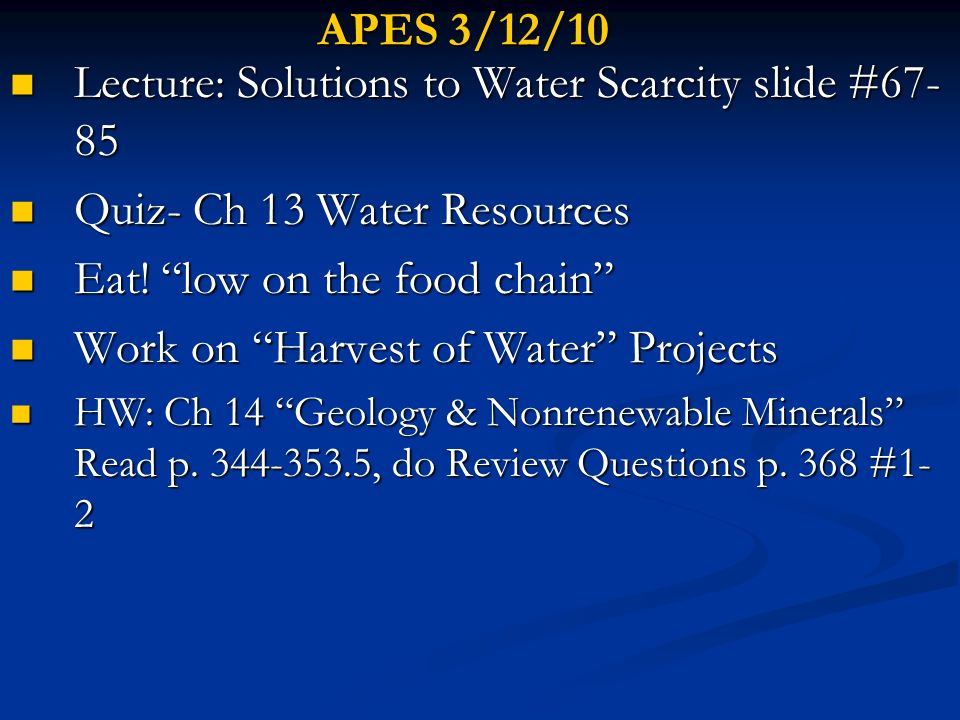 Lecture: Solutions to Water Scarcity slide #67-85