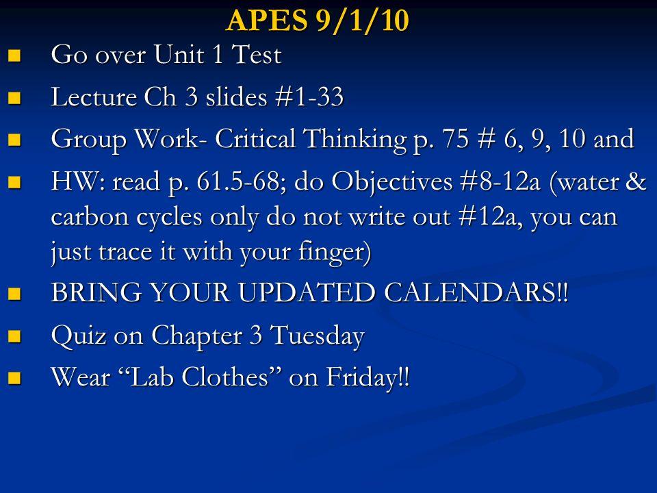 APES 9/1/10 Go over Unit 1 Test Lecture Ch 3 slides #1-33