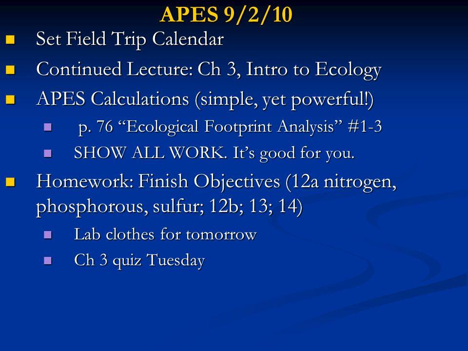 APES 9/2/10 Set Field Trip Calendar