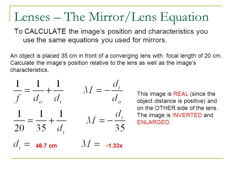Refraction and lenses honors physics ppt video online for Mirror formula