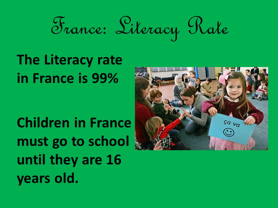 France: Literacy Rate The Literacy rate in France is 99% Children in France must go to school until they are 16 years old.
