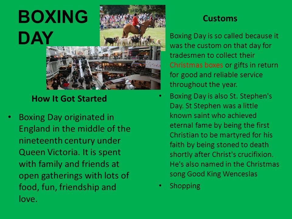BOXING DAY Customs How It Got Started